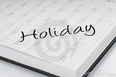 Calendar planer holiday