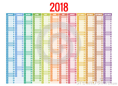 2018 calendar. Print Template. Week Starts Sunday. Portrait Orientation. Set of 12 Months. Planner for 2018 Year. Vector Illustration