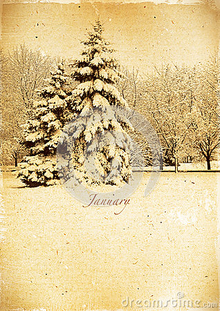 Calendar retro. January. Vintage winter landscape.