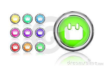 Calendar round colorful shiny icon set
