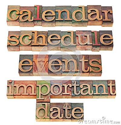 Calendar, schedule, important date