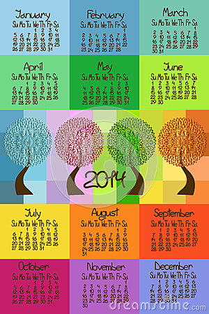 2014 calendar with seasonal trees