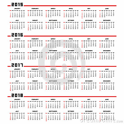 ... 2015, 2016, 2017, 2018 vector calendars. Week starts from Monday