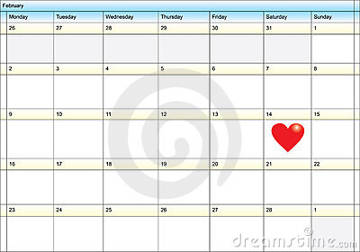 Calendar showing valentine day