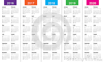 2016 2020 Year Calendar Calendar 2016 2017 2018 2019 2020 Vector Illustration