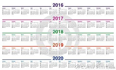 Calendar For 2020-2016 Calendar 2016 2017 2018 2019 2020 Cartoon Vector | CartoonDealer