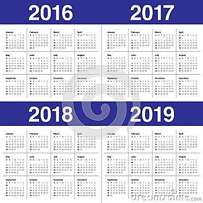 Calendar 2016 2017 2018 2019 Stock Photo - Image: 61291755
