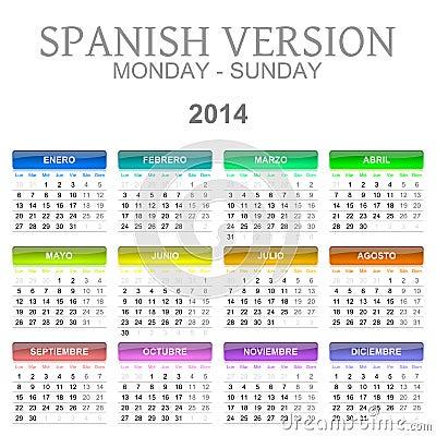 2014 calendar spanish version