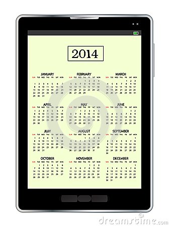 Calendar in tablet pc