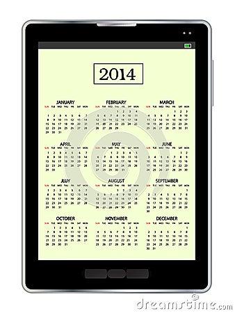 Calendar in tablet pc