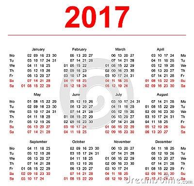 2017 Calendar template. Vertical weeks. First day Monday. Illustration ...