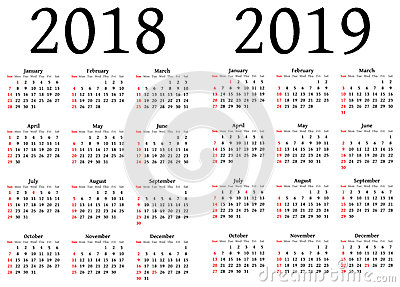 Calendar For 2018 And 2019 Stock Illustration - Image: 51242903