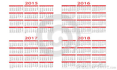 Calendar 2015 And 2016 Stock Vector - Image: 41219957