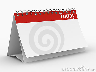 Calendar for today on white background
