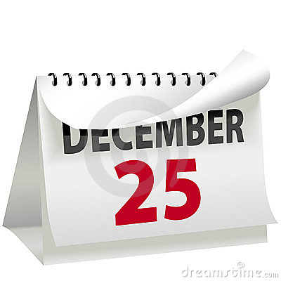 Calendar Turns Page To Christmas DECEMBER 25 Royalty Free Stock Photography - Image: 7173187