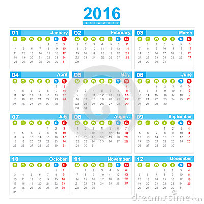 2016 Calendar Week Start Monday Stock Illustration - Image: 60740451