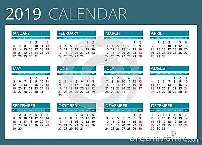 Calendar For 2019. Week Starts Sunday. Simple Vector ...