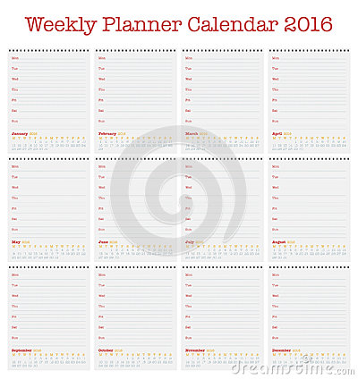... For 2016. Weekly Planner For Year 2016 Stock Vector - Image: 63928348