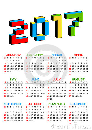 2017 calendar on a white background in style of old 8-bit video games. Week starts from Sunday. Vibrant 3D Pixel letters Vector Illustration