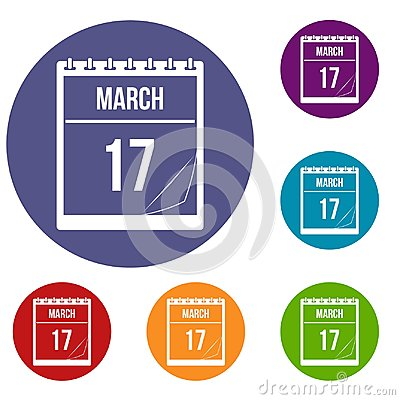Free Calendar With Date Of March 17 Icons Set Royalty Free Stock Photography - 96434817