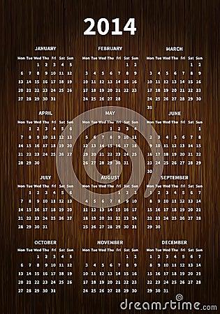 2014 calendar on wood texture