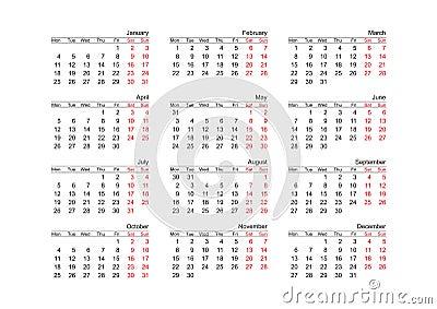 Calendar year 2010 (vector)