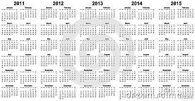 Calendar for year 2011, 2012, 2013, 2014, 2015