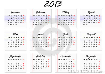 Calendar for the year 2013 in German (vector)