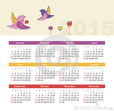 Calendar 2015 year with birds