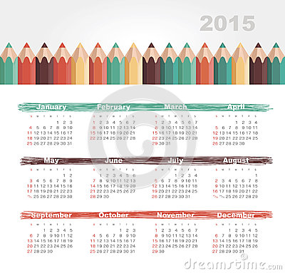 Calendar 2015 year with colored pencils