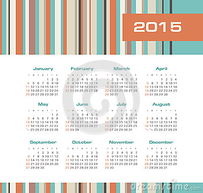 Calendar 2015 year with colored stripes