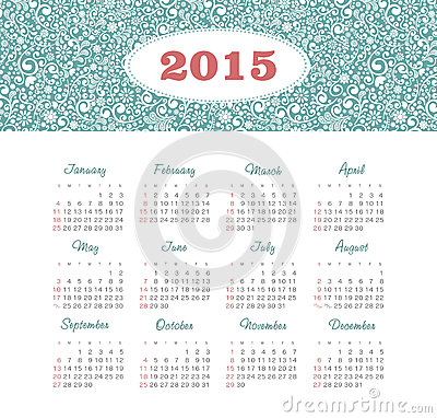 Calendar 2015 year with decorative pattern