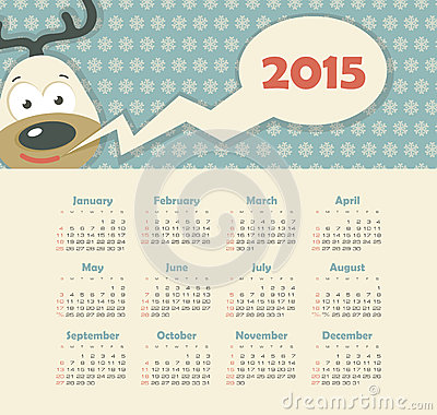 Calendar 2015 year with deer