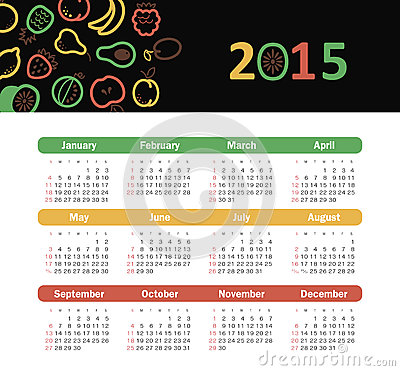 Calendar 2015 year with fruit icons