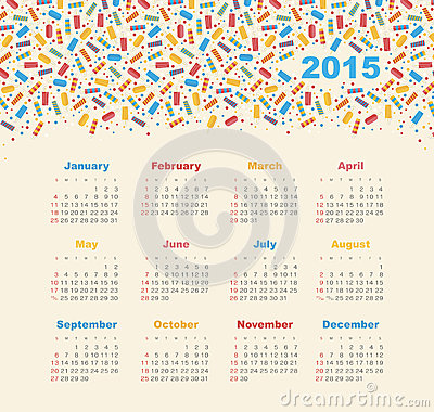 Calendar 2015 year with ice cream