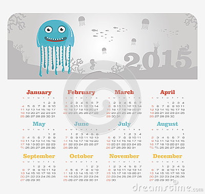 Calendar 2015 year with jellyfish