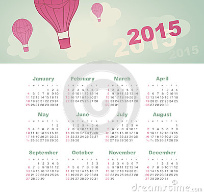 Calendar 2015 year with kite