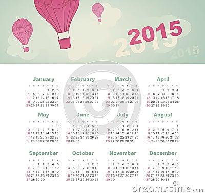 Calendar 2015 year with kite