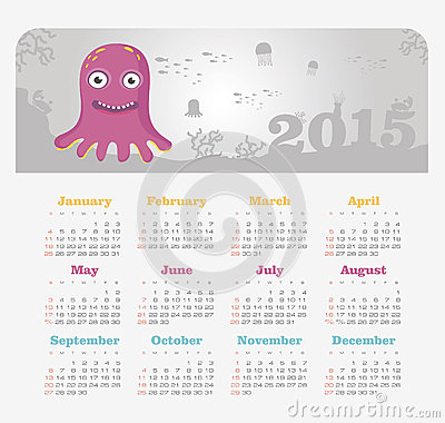 Calendar 2015 year with octopus