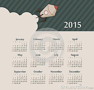 Calendar 2015 year with rocket