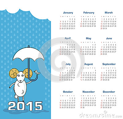 Calendar 2015 year with sheep