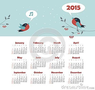 Calendar 2015 year with singing birds