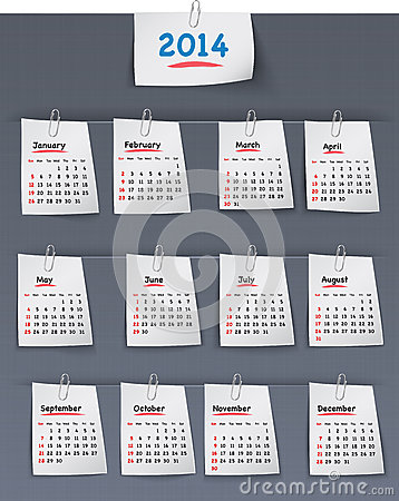 Calendar for 2014 year on sticky notes attached to the linen bac