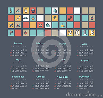 Calendar 2015 year with travel icons