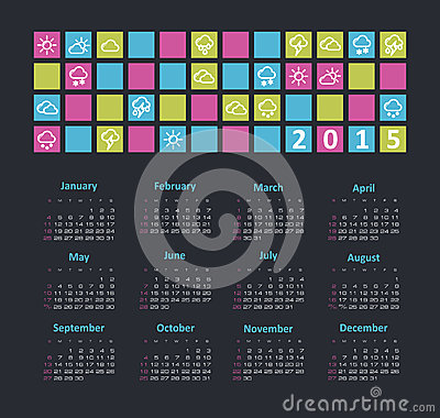 Calendar 2015 year with weather icons