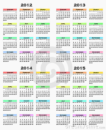 Calendar for years 2012 - 2015