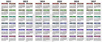 Calendar for years 2012 - 2017