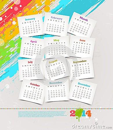 Calendar of 2014 years