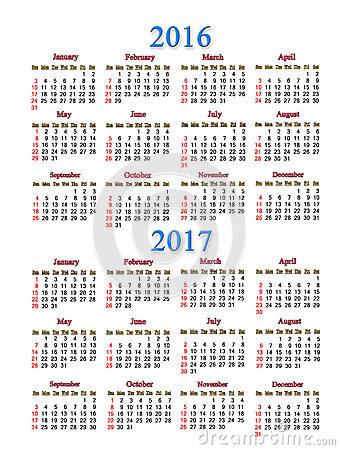 Calendar For 2016 And 2017 Years Stock Illustration - Image: 74663924