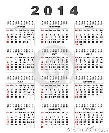 Calendario 2014 Fotografía de archivo libre de regalías - Imagen ...